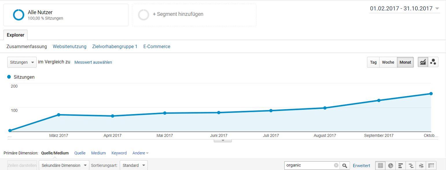 SEO Entwicklung in Google Analytics